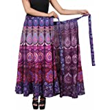 """Jaipur Skirt Women's Traditional and Stylish Cotton Printed Wraparound Skirt (""""Assorted Colors and Assorted Designs"""" Free Siz"""