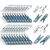 culiclean Pince à Linge ´Fleur´ (48 pièces, Bleu-Blanc/Blanc-Bleu) de