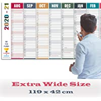 Academic Wall Planner 2020-21 Extra Wide Size. Excellent for students, teachers and professionals. Mid Year Calendar 2020-2021 from Aug '20 – Jul '21. Large Size (119 x 42 cm). Non Laminated.
