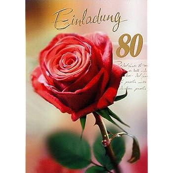 Einladungskarten 80 Geburtstag Frau Mann Mit Innentext Motiv Rote Rose 10 Klappkarten Din A6 Im Hochformat Mit Weißen Umschlägen Im Set