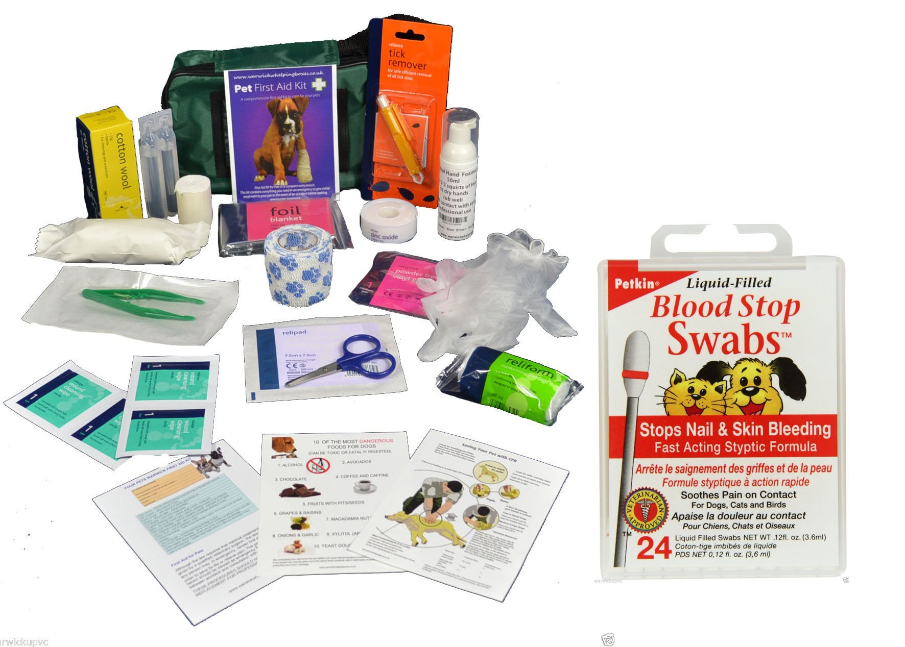 Warwick Comprehensive Pet First Aid kit includes Blood Stop Swobs 1