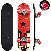 Skateboard, skateboard completo da 78,7 x 20,3 cm, 9 strati in legno d'acero canadese con ruote colorate lampeggianti…