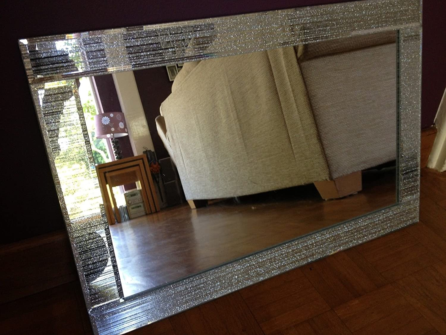 Glitter Silver Mirror Frame Glass Living Room Lounge Bedroom Wall 40x60cm:  Amazon.co.uk: Kitchen U0026 Home