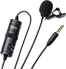 Juarez JRZ1000 Omnidirectional Smartphone Camera Lavalier Condenser Microphone Lav Mic with 20Ft Audio Cable