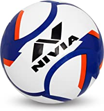Nivia 80076 Dominator Rubber Football, Size 5 (White/Blue/Red)