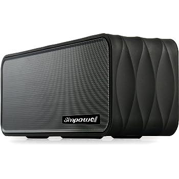 Simpowel V8- Altoparlante Bluetooth portatile con radio FM, lettore MP3 Micro SD, NFC, display a LED e batteria agli ioni di litio rimovibile 18650, Nero