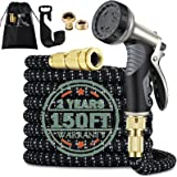 Garden Hose,150FT Hose Pipe,Expandable Garden Hose,Water Hose with Double Latex Core Pipe/Solid Brass Fitting/Metal Hose Pipe