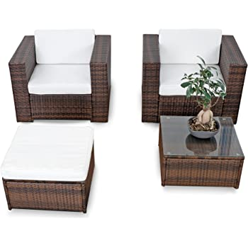 Polyrattan Lounge Gartenset XL Für Balkon Und Terrase Erweiterbar    Gartenmöbel Rattan Balkon Lounge   Braun Mix U2013 Lounge Möbel Set Garnitur  Sitzgruppe ...