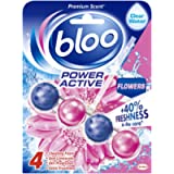 Bloo Power Active Toilet Rim Block Fresh Flowers with Anti-Limescale, Cleaning Foam, Dirt Protection and Extra Freshness…
