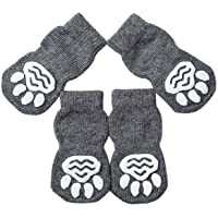 Akopawon Antirutschsocken Hunde Katzensocken 4 Stück Pfotenschutz Haftsocken für Drinnen, Haustier Hunde Katzensocken…