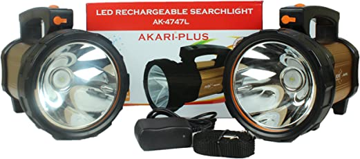 Akari Ak 4747L 30 W Laser Led Rechargeable Search Light Torch (Colour Golden, Grey, Yellow Depending On Availability)