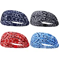 4 Pieces Sport Boho Headbands, Soft Fabric Hair Band Elastic Wide Head Wrap Bandana for Women Girls Daily Yoga Sport…