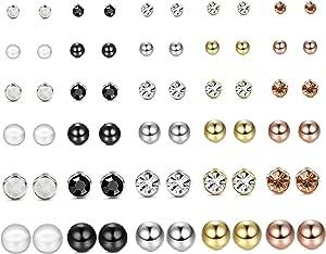 YADOCA 30 Paia Assortiti Orecchini Multipli Per Le Donne Ragazze Adolescenti Perle Di Cristallo Sfera Piercing Dichiarazione Bar Studs Orecchini Set