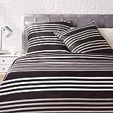 Amazon Basics - Juego de ropa de cama con funda de edredón, de satén, 155 x 200 cm / 80 x 80 cm x 2, A rayas
