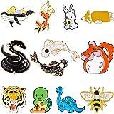 12 Pezzi Perni Animali per Zaini Giacche Bambini Perni Simpatici Spilla Smalto di Dinosauro Pesce Coniglio Ape Accessori da V