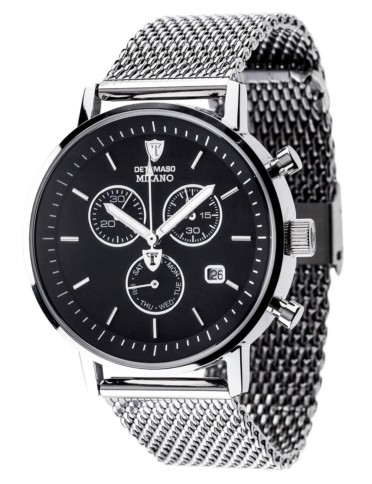 Reloj Detomaso Milano Dt1052-O para hombre, con mecanismo de cuarzo, cronógrafo, esfera negra y correa de cuero negro