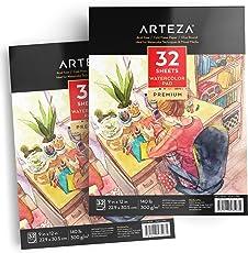 Arteza Aquarellblock — Weißes Malpapier für Wasserfarben und Gemischte Malmedien — Din A4 Aquarellpapier — 32 Blätter Pro Malblock 2 Stück Set