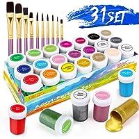 Set da Colori Acrilici, Set di 31 PCS Premio Pittura Acrilica Compreso 21 x 20 ml Pigmento Acrilico +10 Pennellino…