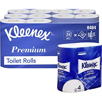 Kleenex 8484 Rollos de Papel Higiénico, 24 X 160 Servicios Acolchados, 4 Capas, Blanco