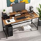 HOMEYFINE Bureau d'ordinateur,Table d'ordinateur Portable avec Rangement pour contrôleur,en Bois et métal,Table d'étude pour