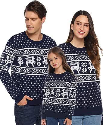 Aibrou Maglione di Natale Famiglia Maglia Natalizio con Girocollo Manica Lunga Pullover Maglioni Natalizi Felpa Autunno Invernali per Donna Uomo Bambina Bambino