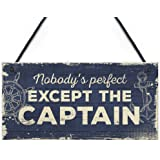 RED OCEAN Nautical Sign Captain Bar Pub Bathroom Man Cave Kitchen Plaque Fishing Boat Gift For Men