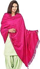 Weavers Villa - Women's Kashmiri PolyWool Pink Shawls,Stoles