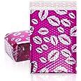 Lot de 25 18x27cm Rose Lèvres Lèvres Enveloppes matelassées Enveloppes à Bulles Poly Sacs de transport pour l'envoi d'emballa