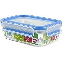 Emsa 508538 Boîte alimentaire rectangulaire avec couvercle, 0,55 L, Transparent/bleu, Clip & Close