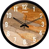 Amazon Brand - Solimo 12-inch Wall Clock - Wooden Texture (Silent Movement, Black Frame)