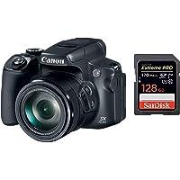 Canon Powershot SX70 20.3MP Digital Camera 65x Optical Zoom Lens 4K Video 3-inch LCD Tilt Screen (Black) + SanDisk 128GB…