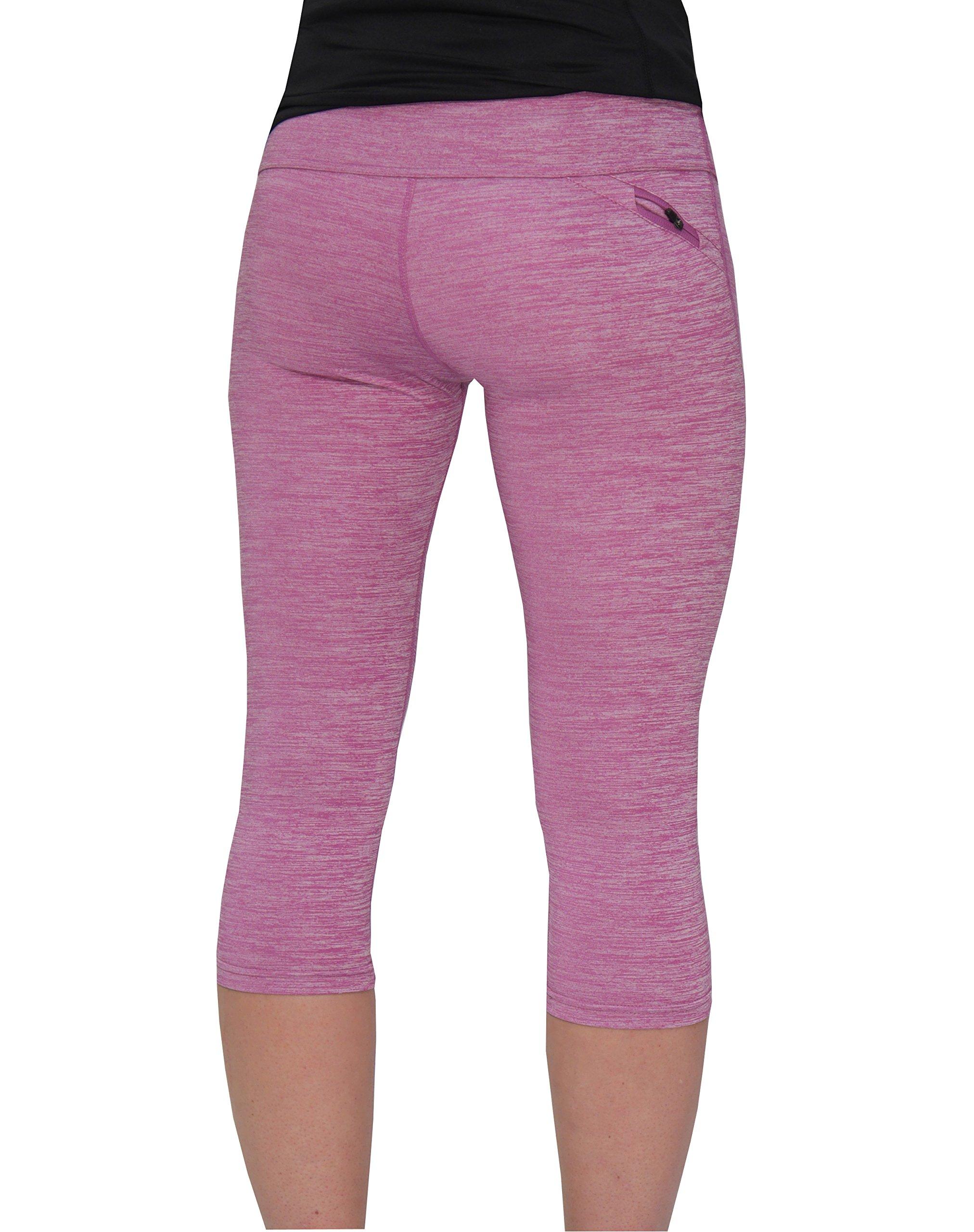 More Mile Heather Womens Capri Sports Tights 3/4 Leggings Exercise Running Training Yoga
