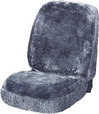 WOLTU AS7335sb Universal Lammfellbezug Auto Sitzbezug 100% Echtlammfell Vollbezug Vordersitzbezug, Feste Wolle, ca, 1,8 cm Dicke, Silber