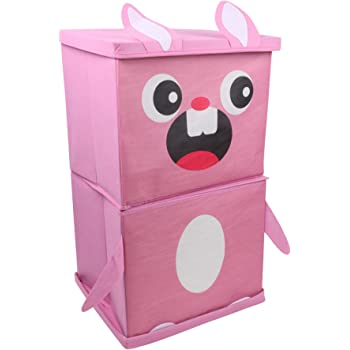 Miamour Rabbit Fabric Storage Organizer, 2 Tier, Pink