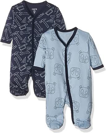 Care Baby Mädchen und Jungen Schlafanzug aus Baumwolle mit Fuß, 2er Pack