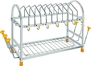 Priya Stainless Steel Standard Kitchen Organizer 5-in-1 Dish Drainer, Size- Length-21inch Width-8 inch Height-12inch(White)