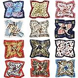 Tuopuda Sciarpa in Raso Quadrato, 6/12 Pezzi Bandane Multicolori, Foulard Donna Multiuso Sciarpa di Seta Fantasia Fazzoletti
