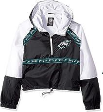 Icer Brands NFL Philadelphia Eagles Women's Quarter Zip Hoodie Windbreaker Play Action Jacket, Medium, Black
