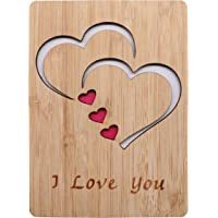Real Bamboo Wood I Love You Card, Wooden Greeting Cards for Any Occasion, to Say Happy Valentines Day Card, Anniversary, Gifts for Wife, Him, Or Her, Or Just Because