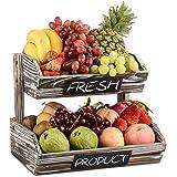Panier de fruits en bois rustique 2 niveaux avec tableaux noirs, cuisine décorative de ferme évider le support d'organisateur