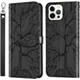 Mylne Embossing Cover for iPhone 11 Pro Max,Wallet PU Leather Magnetic Flip Case Tree Pattern Case Card Slots with Stand,Blac