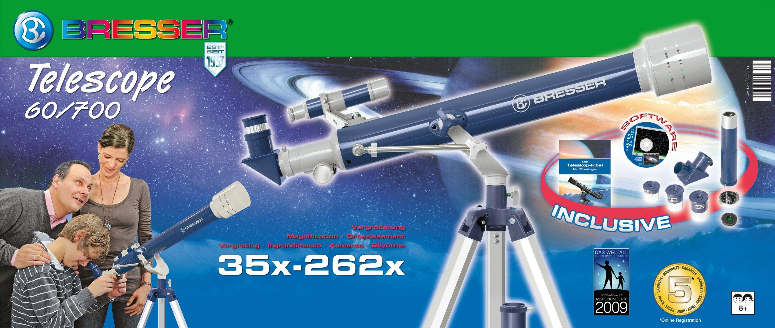 Bresser Junior Telescope 60/700 AZ Refractor Telescope - Blue/Grey