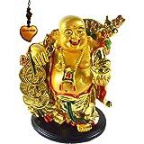 حلية تزيين التمثال فينج شوي الذهبية الضاحك عليها Happy Buddha holding Ingot من Betterdecor