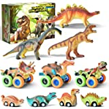 Dinosaur Car Toys for 3-8 Boys Year Old, GizmoVine 10 Pcs Pull Back Dinosaur Cars Toys Set Boys Toys Birthday Gifts for 2 3 4