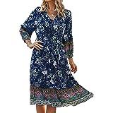 ZIYYOOHY Vestido corto para mujer con estampado floral, largo hasta la rodilla, estilo retro, informal, cuello en V, primaver