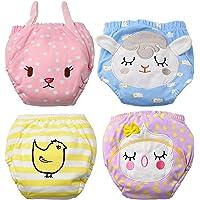 Flyish Lot de 4 Culottes de puériculture pour sous-vêtements d'entraînement pour bébés sous-vêtements pour bébés Culotte…