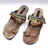 Enhara Copper Coin Blue Sandals Bohemian Kolhapuri Chappals/Leather Sandals for Women/Handmade Slides/Ethnic Indian Flip…