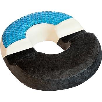 Bonmedico® Orthopädisches Hämorrhoiden-Sitzkissen mit innovativer Gel-Beschichtung, wirkt schmerzreduzierend, sorgt für eine gerade Körperhaltung und Steißbein-Entlastung, geeignet für Auto, Sofa, Office- & Rollstuhl sowie Reisen, in Schwarz/ Black