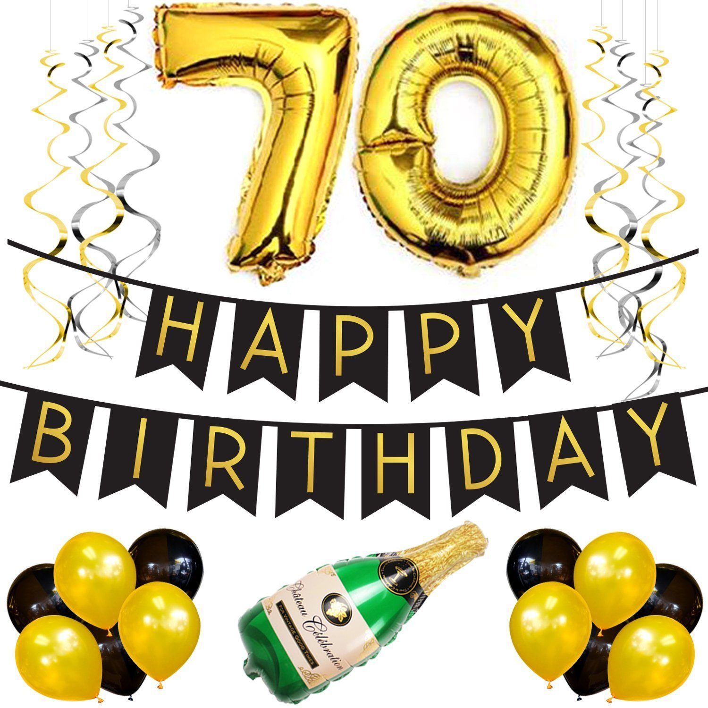 Paquete para Fiesta de Cumpleaños Número 70 – Paquete con Banderín de Feliz Cumpleaños Negro y Dorado, Pompones y Serpentinas- Decoración para Cumpleaños – Artículos para la Fiesta de Cumpleaños Número 70