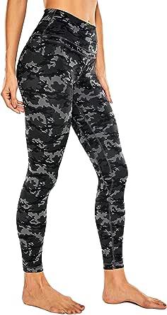 CRZ YOGA Donna Vita Alta Yoga Fitness Spandex Palestra Pantaloni Sportivi 7/8 Leggins con Tasche-63cm